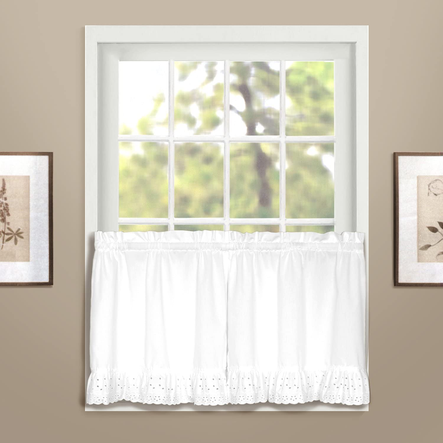 American Curtain and Home Deanna Tier, 60-Inch by 24-Inch, White, Set of 2