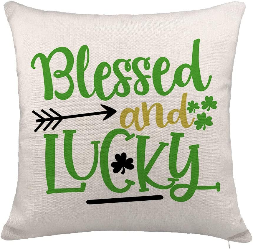"YOENYY St. Patricks Day Throw Pillow Cover Cushion Case for Sofa Couch Blessed and Lucky Home Decor Cotton Linen 18"" x 18"" Inch"