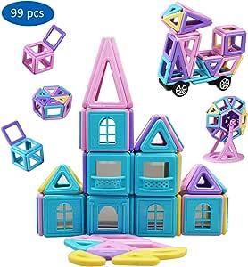 YowoSmart Magnetic Building Blocks Set for Kids, Magnet Tiles Toys 99 PCS STEM Educational 3D Stacking Toys Gifts for Girls Boys Children, Smaller Blocks to Suit Kids