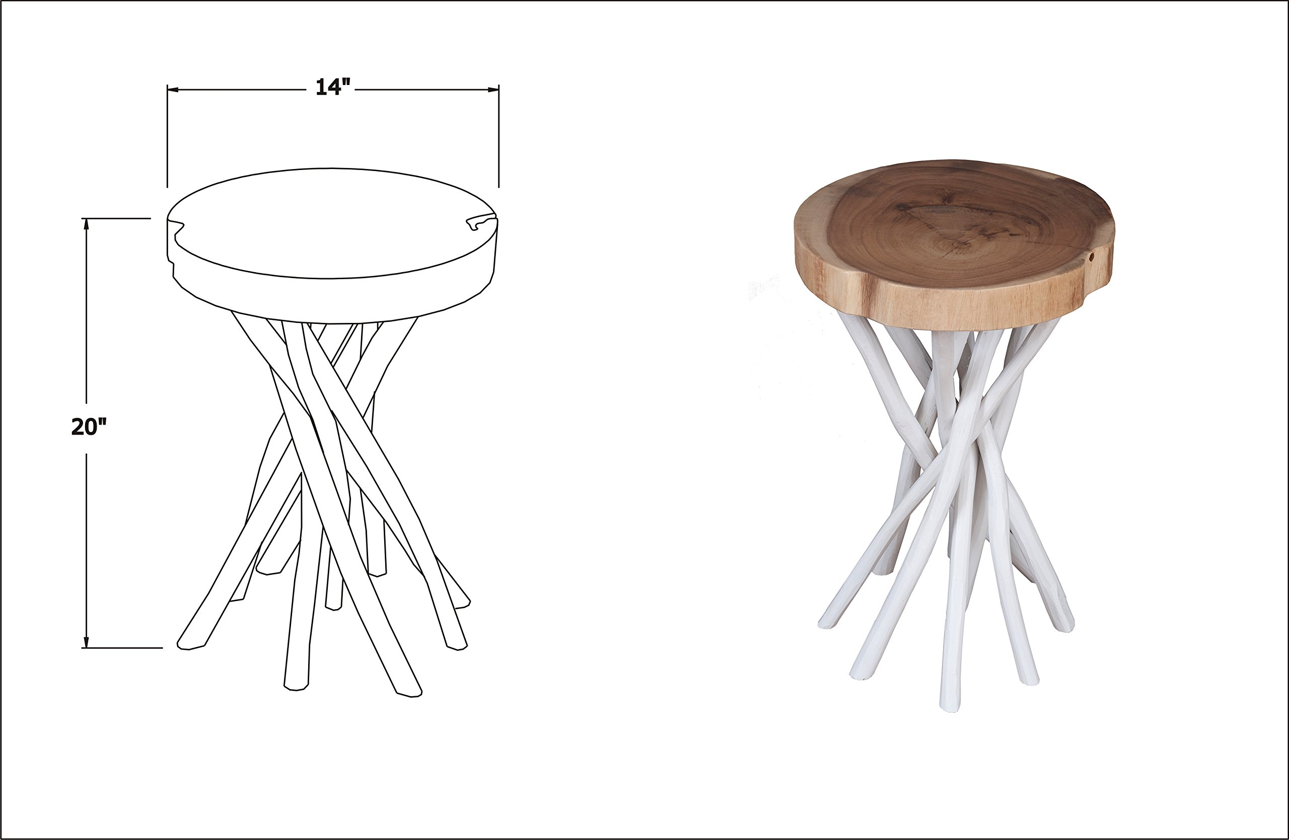 East at Main Kenton Teakwood White Round Accent Table, (14x14x20) by East At Main (Image #3)