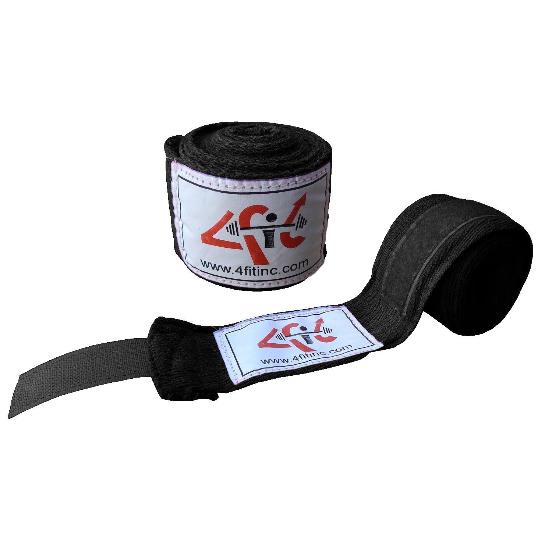 4フィットのペアハンドラップボクシングMMA UFC手ラップ手首ガード B01MRXNYUI ブラック