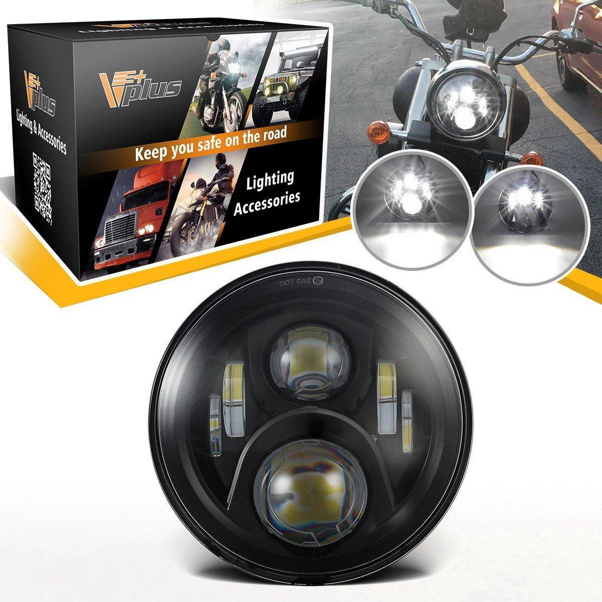 Partsam 7'' inch LED Headlight Harley Davidson Motorcycle Projector Daymaker HID LED Light Bulb Jeep Wrangler JK LJ CJ Headlamp Black
