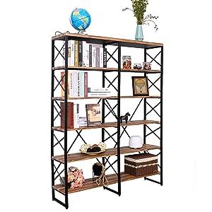 IRONCKBookshelf, Double Wide 6-Tier Open Bookcase VintageIndustrialStyle Shelves, Home, Office Furniture
