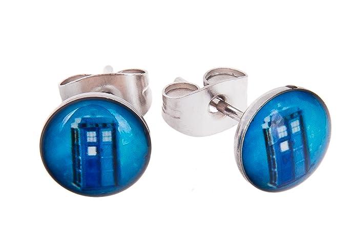 TV Inspired Blue Tardis 8mm Stainless Steel Stud Earrings in Gift Box YaTnHMjQ