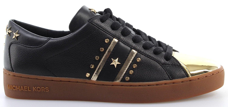 Michael Kors Women's Frankie Metallic Leather Striped Sneakers (6.5)