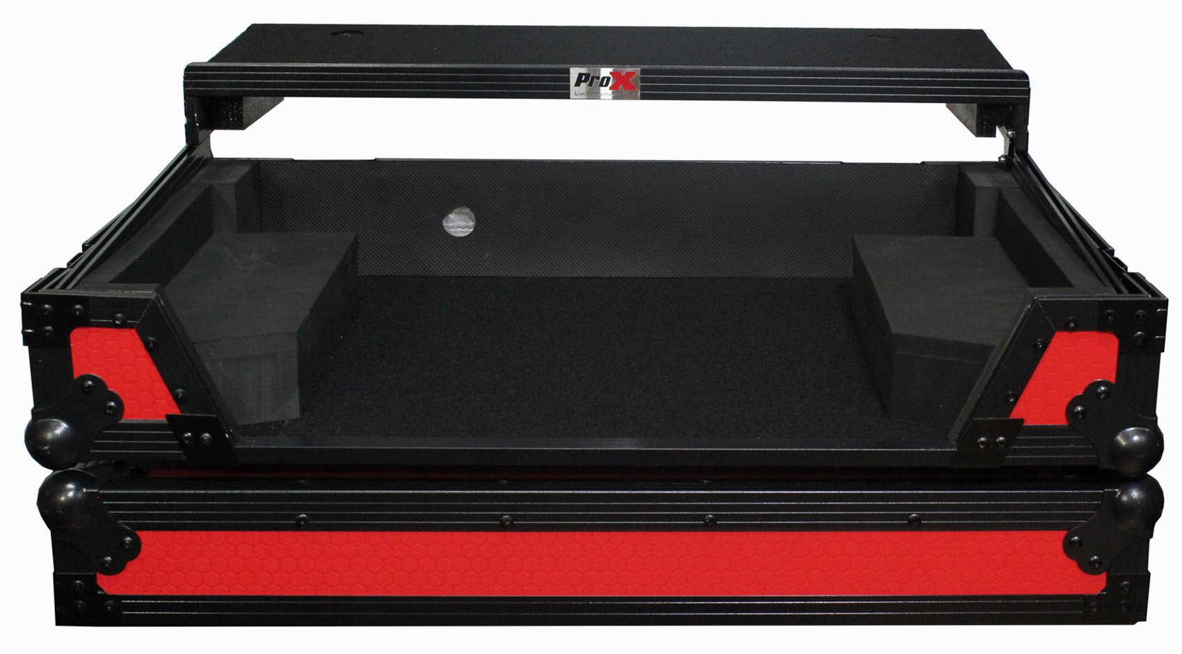 ProX flight case for pioneer DDJ-SX2 LED Kit Included Red on Black Laptop shef & Wheels