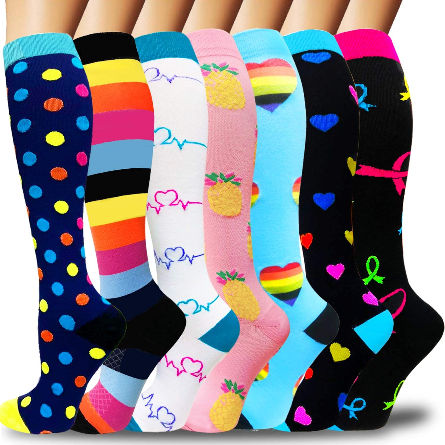 Compression Socks For Women&Men(3/7 Pairs) - Best Medical for Running,Travel,Nurses,Flight Travel,20-30mmHg