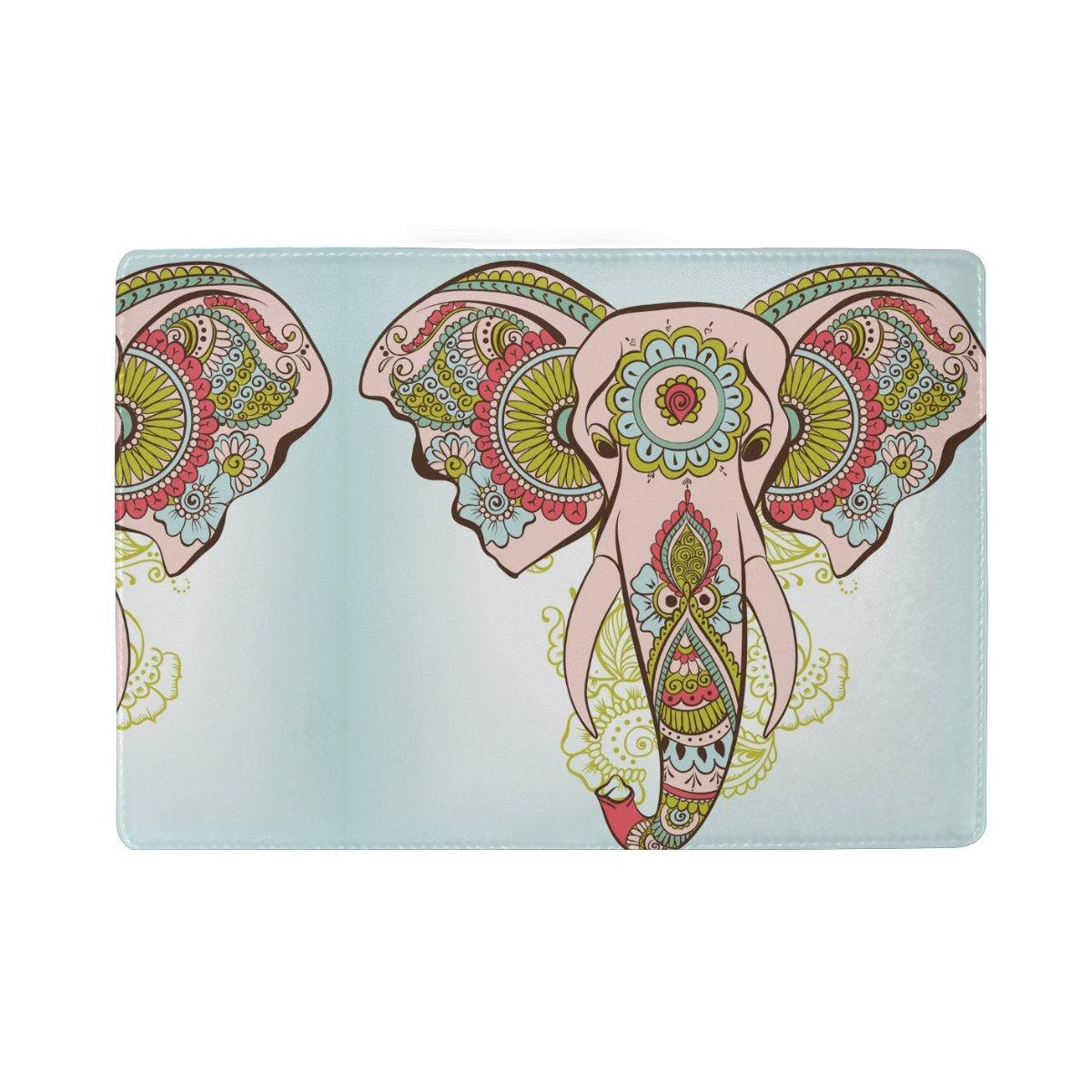 COOSUN Elefante en el pasaporte de piel cubierta de la caja titular indio de la alheña de viaje Un bolsillo Medio Multicolor: Amazon.es: Equipaje