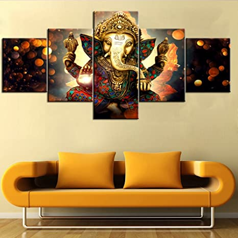 Black and White Artwork for Wall Paintings for Bedroom 5 PCS Ganesha Hindu  God Canvas Pictures Artwork Home Decor Painting Modern Posters and Prints  ...