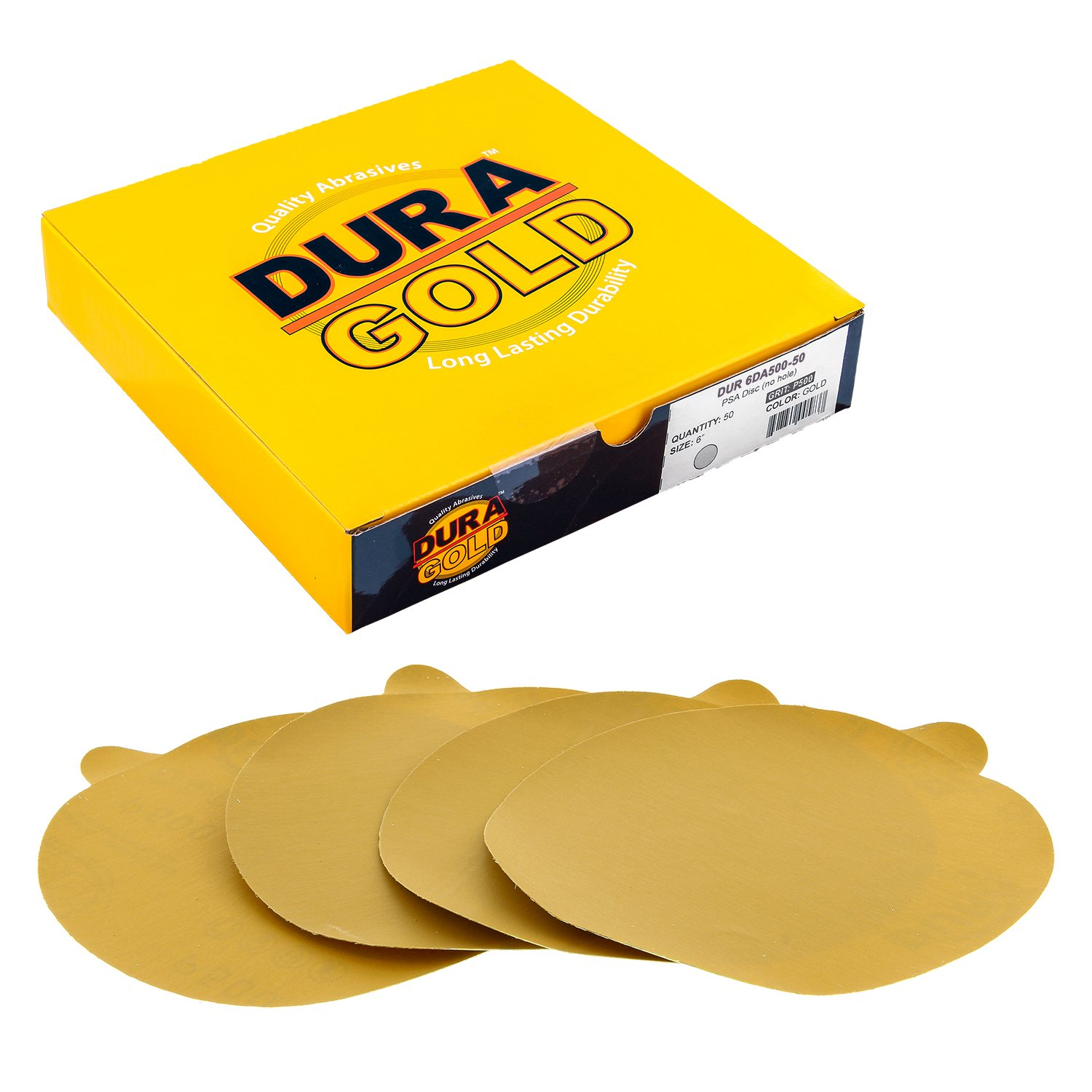 Dura-Gold - Premium - 500 Grit 6'' Gold PSA Self Adhesive Stickyback Sanding Discs for DA Sanders - Box of 50 Sandpaper Finishing Discs for Automotive and Woodworking