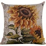 "LINKWELL 18""x18"" Shabby Chic Vintage Sunflower Big Burlap Cushion Covers Pillow Case (CC938)"