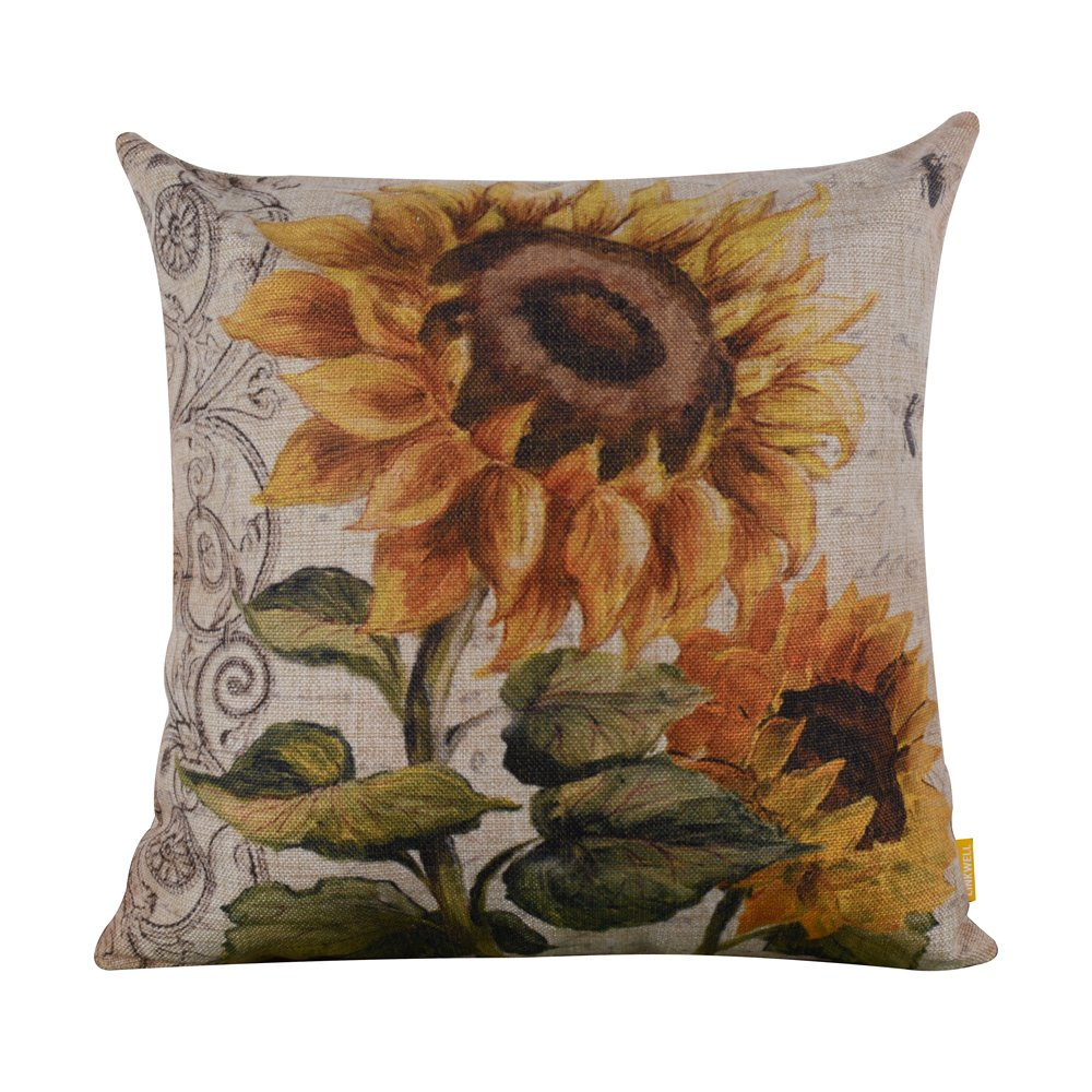 LINKWELL 18x18 Shabby Chic Vintage Sunflower Big Burlap Cushion Covers Pillow Case