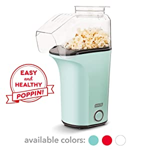 DASH DAPP150V2AQ04 Hot Air Popcorn Popper Maker with Measuring Cup to Portion Popping Corn Kernels + Melt Butter Makes 16C Aqua