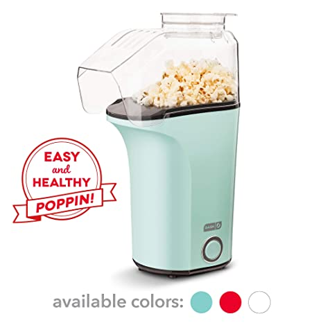 Dash Dapp150 V2 Aq04 Hot Air Popcorn Popper Maker With With Measuring Cup To Portion Popping Corn Kernels + Melt Butter, Makes 16 C, Aqua by Dash