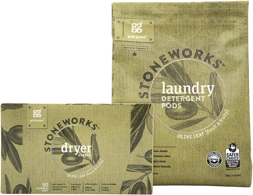 Grab Green Stoneworks Laundry Detergent Pods and Dryer Sheet Kit, Powered by Naturally-Derived Plant & Mineral-Based Ingredients, Olive Leaf, 50 Loads