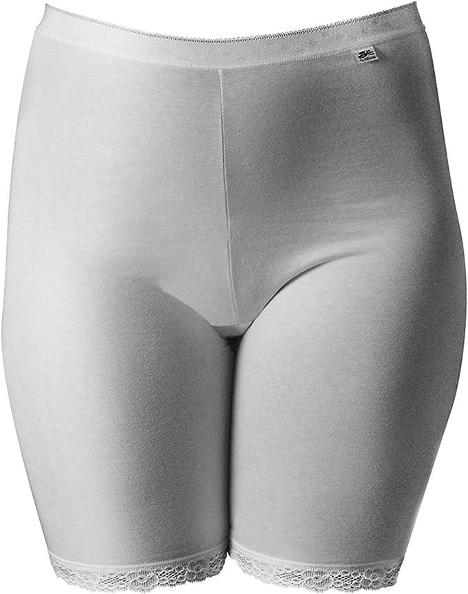 Mancuso - Braga para mujer, contenitiva con pierna de algodón suave y elástico y encaje en la pierna y doble tejido anti rozaduras: Amazon.es: Ropa y accesorios