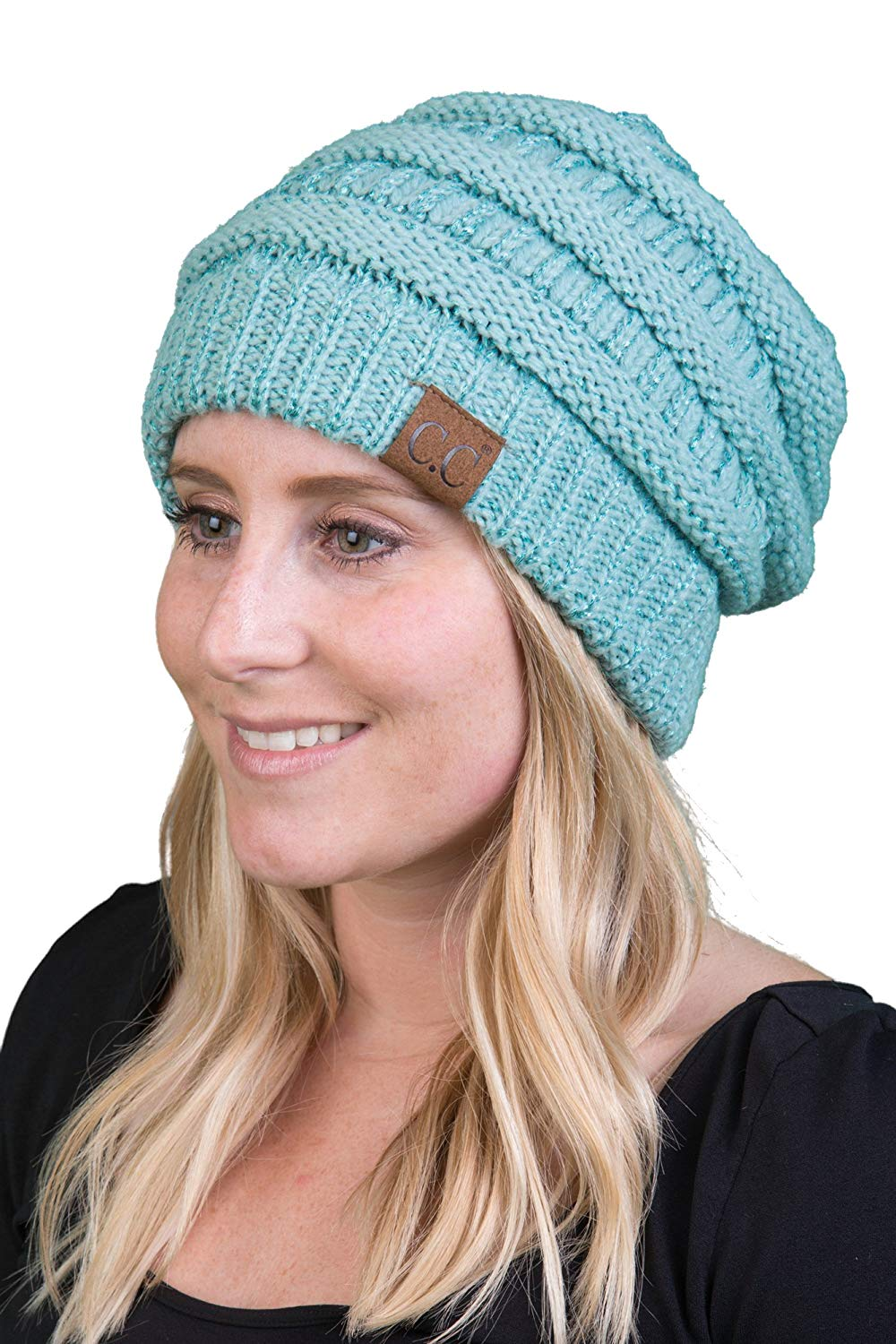 H-6020a-9054 Funky Junque Solid Ribbed Beanie - Mint (Metallic)