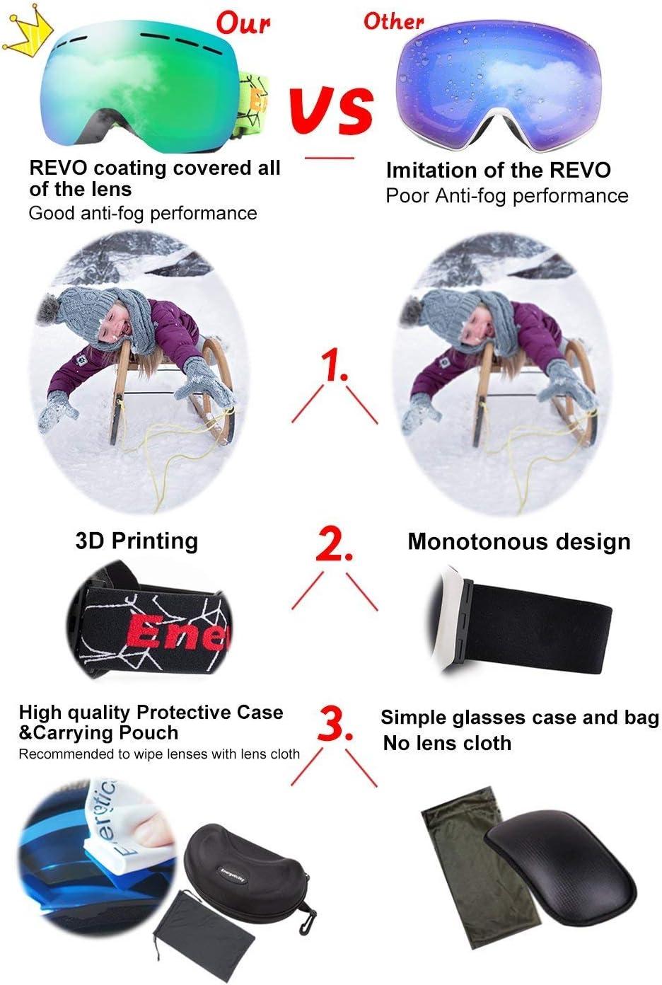 Skateboard Schneebrille f/ür M/änner Frauen und Jugendliche Motorrad OTG REVO Ski-Brille Anti-Beschlag Snowboard-Brille f/ür den Schnee Snowmobile UV-Schutz Von EnergeticSkyTM Snowboard Reiten