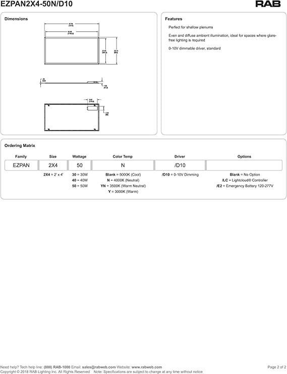 RAB Edgelit Panel 2X4 50W 35K LED W//LC Controller 120-277V Dim EZPAN2X4-50YN//D10//LC