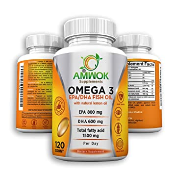 Amwok Purity Tested Concentrated Omega 3 Fish Oil Nutritional Supplement  with Essential EPA DHA Fatty acids