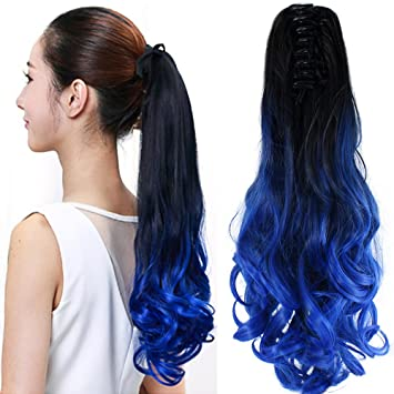 Amazon neverland beauty 22 claw on ombre two tone synthetic neverland beauty 22quot claw on ombre two tone synthetic curly wavy ponytail hair extensions natural pmusecretfo Choice Image
