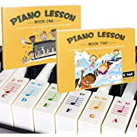 Color Piano and Keyboard Stickers and Complete Color Note Piano Music Lesson and Guide Book 1 and 2 for Kids and…
