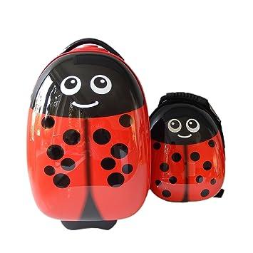FERGÉ 1 Maleta Trolley & 1 Mochila para niño o niña Mariquita Trolley para niños Equipaje
