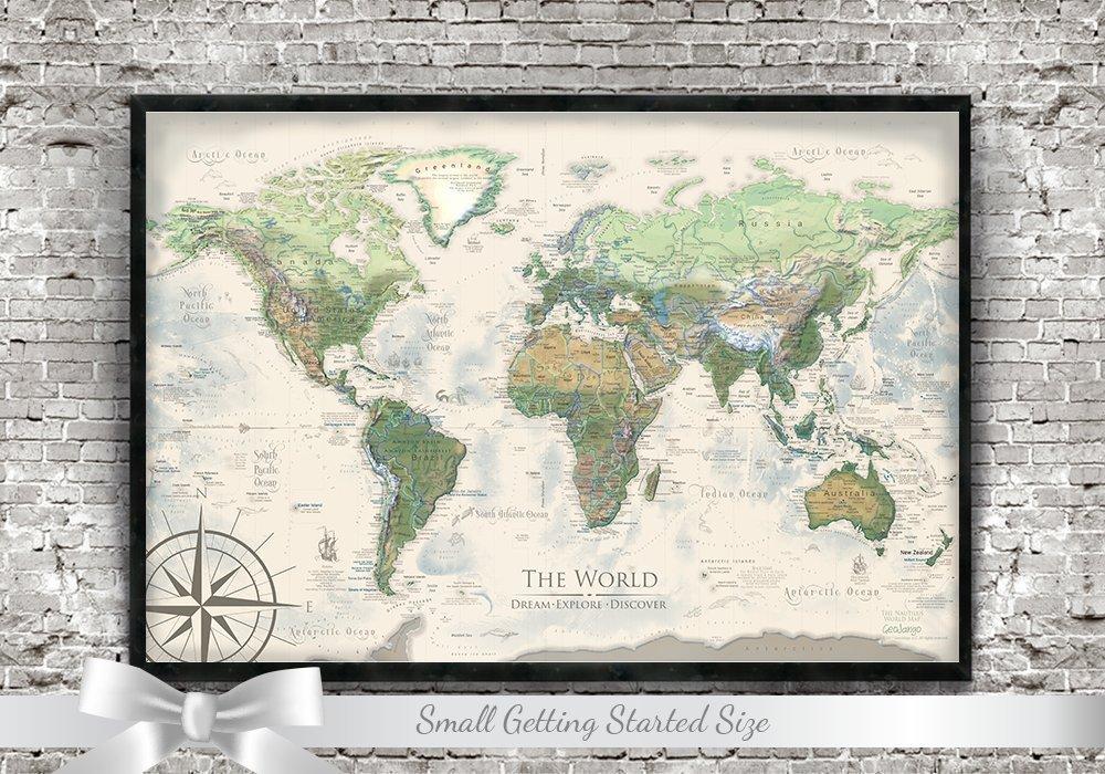 World Map Push Pin - Personalized Push Pin Travel Map - The Nautilus World Map - Small Edition