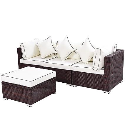 Amazoncom Myeasyshopping Outdoor Patio Furniture Wicker Sofa