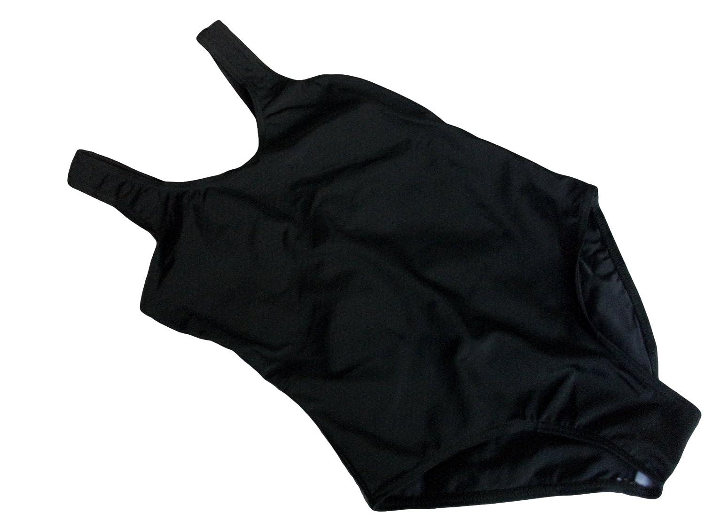 f762b8e1ce GIRLS PLAIN BLACK SWIMMING COSTUME AGE 12-13 YEARS: Amazon.co.uk: Clothing