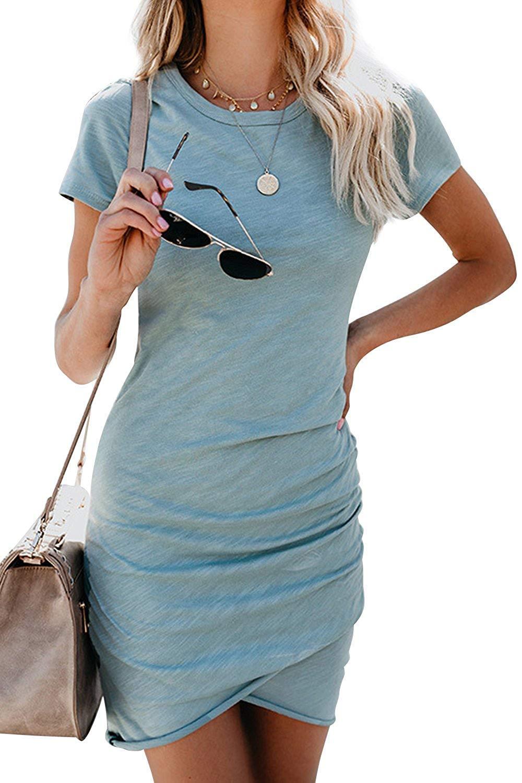ca8f29909ac Gyozelem Women Dresses Summer Casual Ruched Short Sleeve Asymmetrical  Bodycon Mini Dress 2X-Large Blue