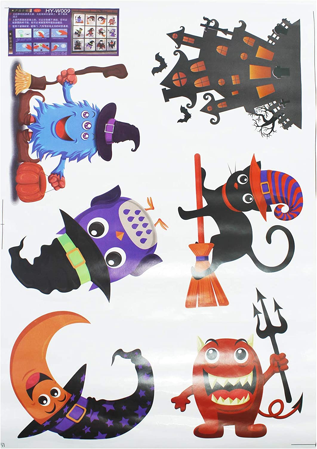 9 Faces Mirrors Thanksgiving Decorations Party Ornaments Halloweens Pumpkins Decals 11 Pieces Jack-O-Lantern Clings Decals For Windows Wall Glass Doors DIY Required Refrigerator Doors
