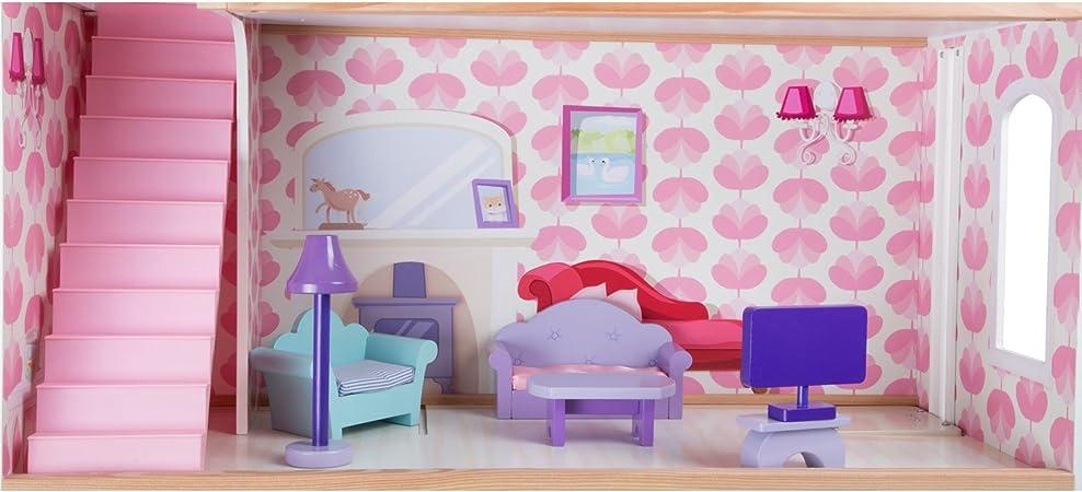 Small Foot by Legler Casa delle Bambole su Tre Piani Un Lato Aperto per Semplice bespielen con Ascensore e balconi con 14/Mobili per casa delle Bambole