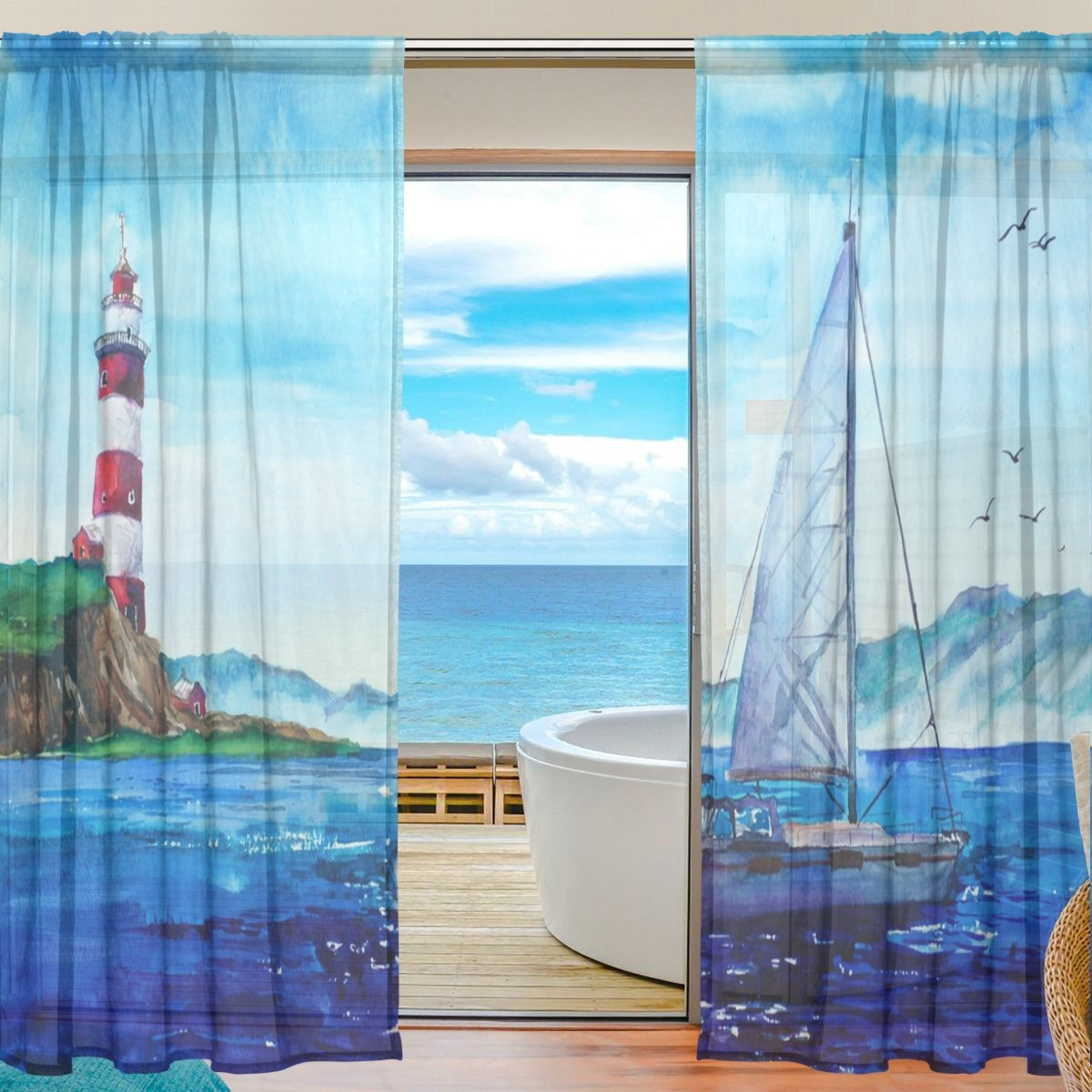 SEULIFE Window Sheer Curtain, Ocean Sea Lighthouse Ship Voile Curtain Drapes for Door Kitchen Living Room Bedroom 55x84 inches 2 Panels by SEULIFE