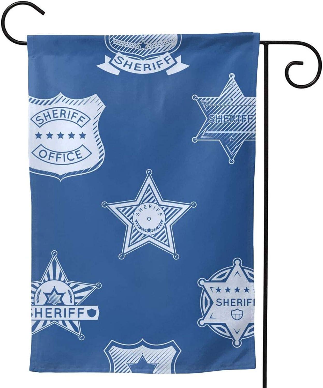 Furunxin Sheriff Badge Garden Flag Vertical Double Sided 12 X 18 Inch Outdoor Yard Decor