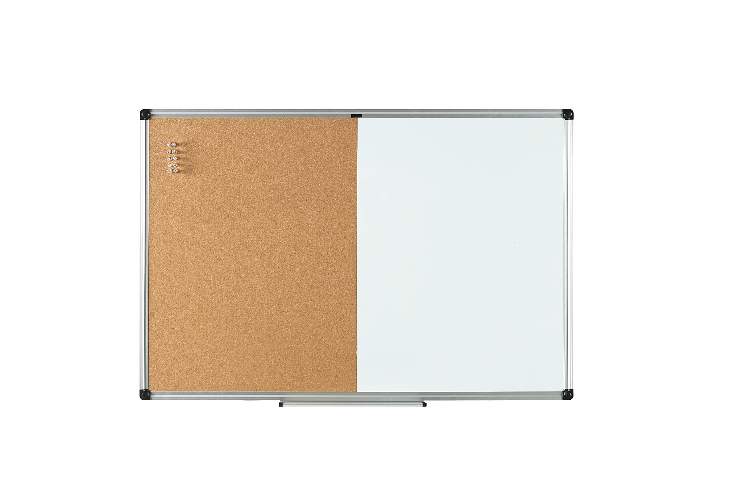 BOARD LINE Combination Board 48 X 36 Inches,Combo Whiteboard & Cork Board with Aluminum Frame, 10 Push Pins by BOARD LINE