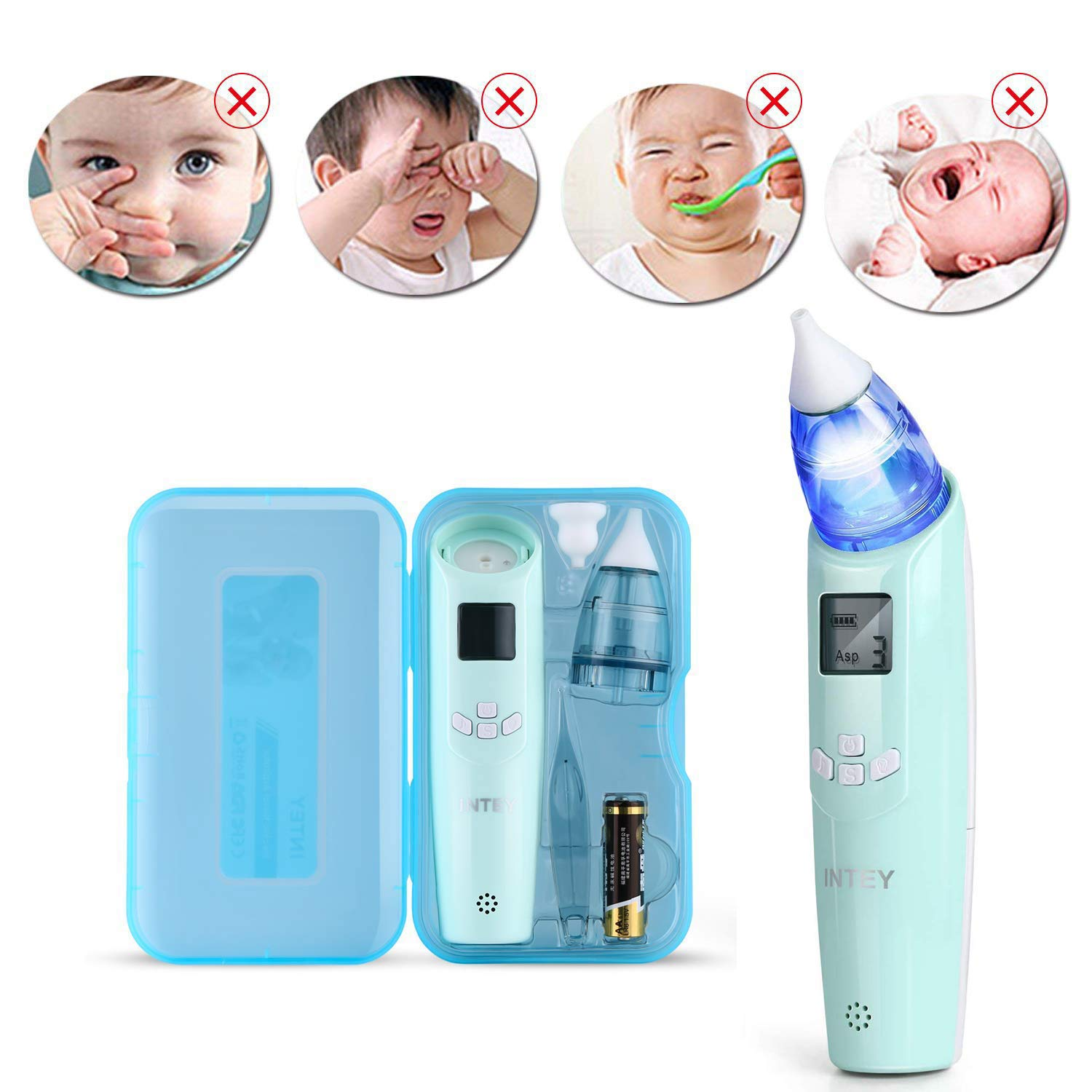 INTEY Baby Nasal Aspirator Electric for Newborns, Toddlers - Nose Vacuum Cleaner with 3 Strength Suction, 2 Sizes of Nose Tips, Music & Lights, LCD Display, Safe and Hygienic (Battery Included)