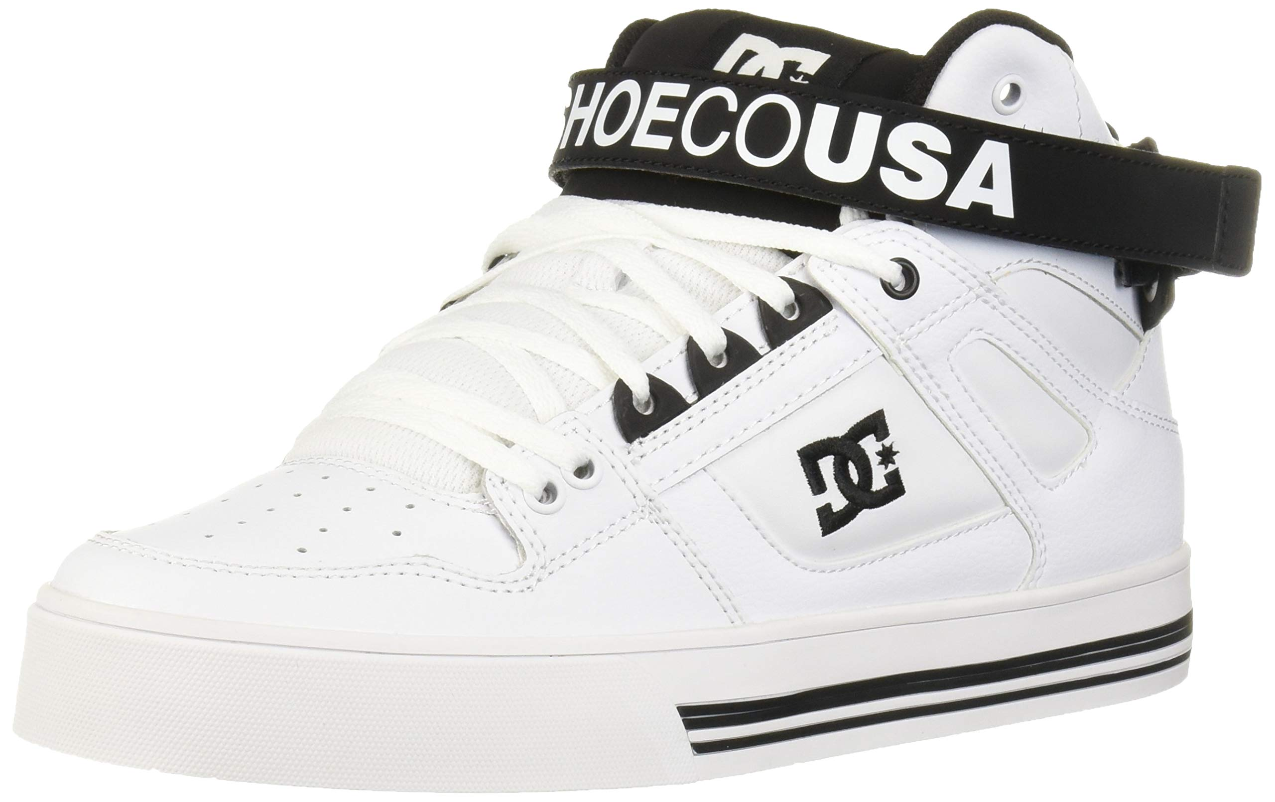 DC Women's Pure HIGH-TOP V Skate Shoe, White/Black, 6 M US by DC