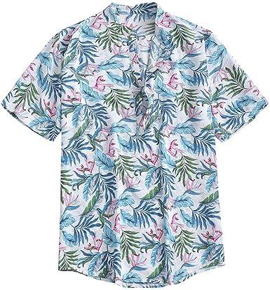 YEBIRAL Camisetas Hombre Verano Manga Corta Impresión de Floral con Botones Suelto Hawaii Shirt Camisa Hawaiana para Hombre de Playa de Surf (4XL, Blanco): Amazon.es: Ropa y accesorios