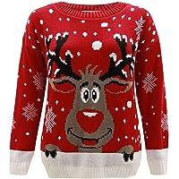 Jersey para niños, diseño navideño de Rudolph el reno, talla 2-14 rojo rosso 11-12 Años