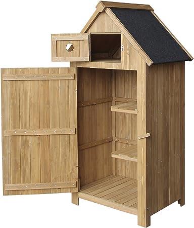 Caseta de jardín de madera de pícea con tejado de betún ...