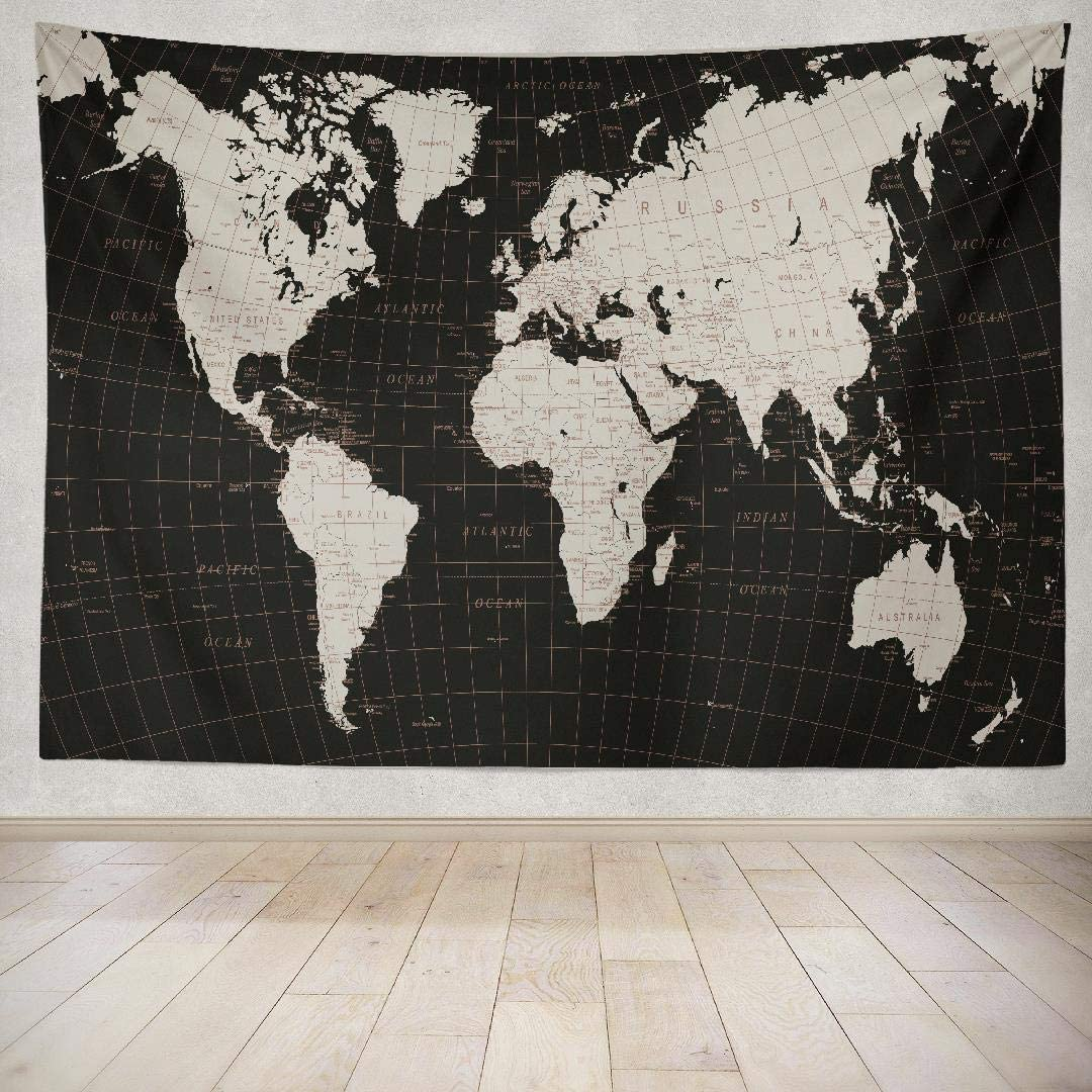 Alricc Map Tapestry,Vintage Tapestry World Maps for Wall Tapestry Black Vintage World Map Wall Hanging Tapeatry for Living Room Bedroom World Map Decor 80X60