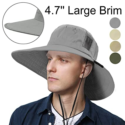 3f0275a4f Tirrinia Unisex Outdoor Safari Sun Hat Wide Brim Boonie Cap with Adjustable  Drawstring for Camping Hiking Fishing Hunting Boating