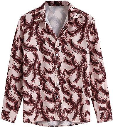 waotier Camisetas de Manga Larga Hombres Camisa Hawaiana Estilo étnico Graffiti Blusa con Estampado Floral Suelto Tops: Amazon.es: Ropa y accesorios
