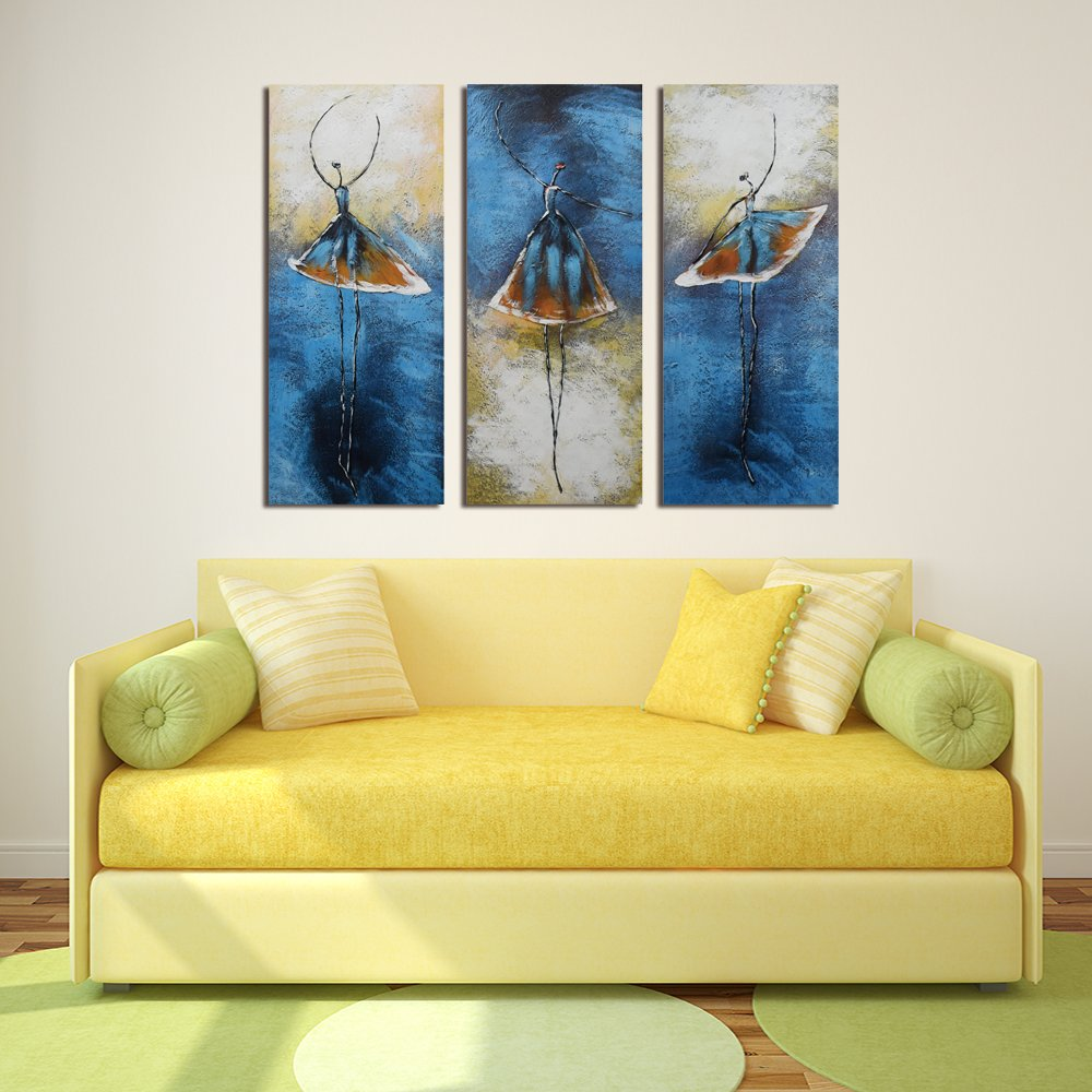 AWEVILIA Ballerina Elegant Dancer Abstract Wall Art Paintings on Canvas Stretched and Framed Modern Wall Decorations Home Decor