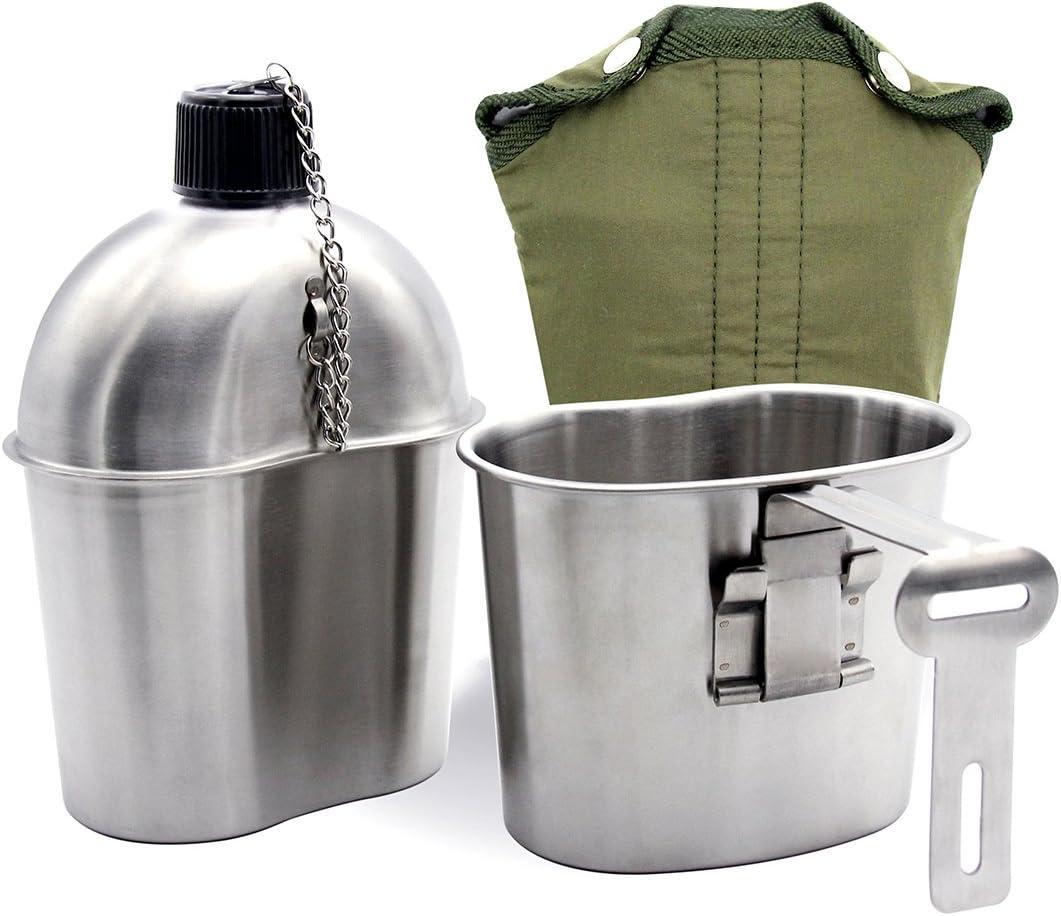 Latinaric 1 QT portatile bottiglia dacqua in acciaio inox militare Mensa con 0.5QT Coppa Borsa Verde sport esterno di escursione di campeggio di viaggio