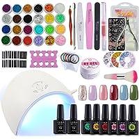 Coscelia 6 Colors Gel Nail Polish Starter Kit 36W LED Nail Dryer lamp Base Top Coat Manicure Tools Nail Art Design