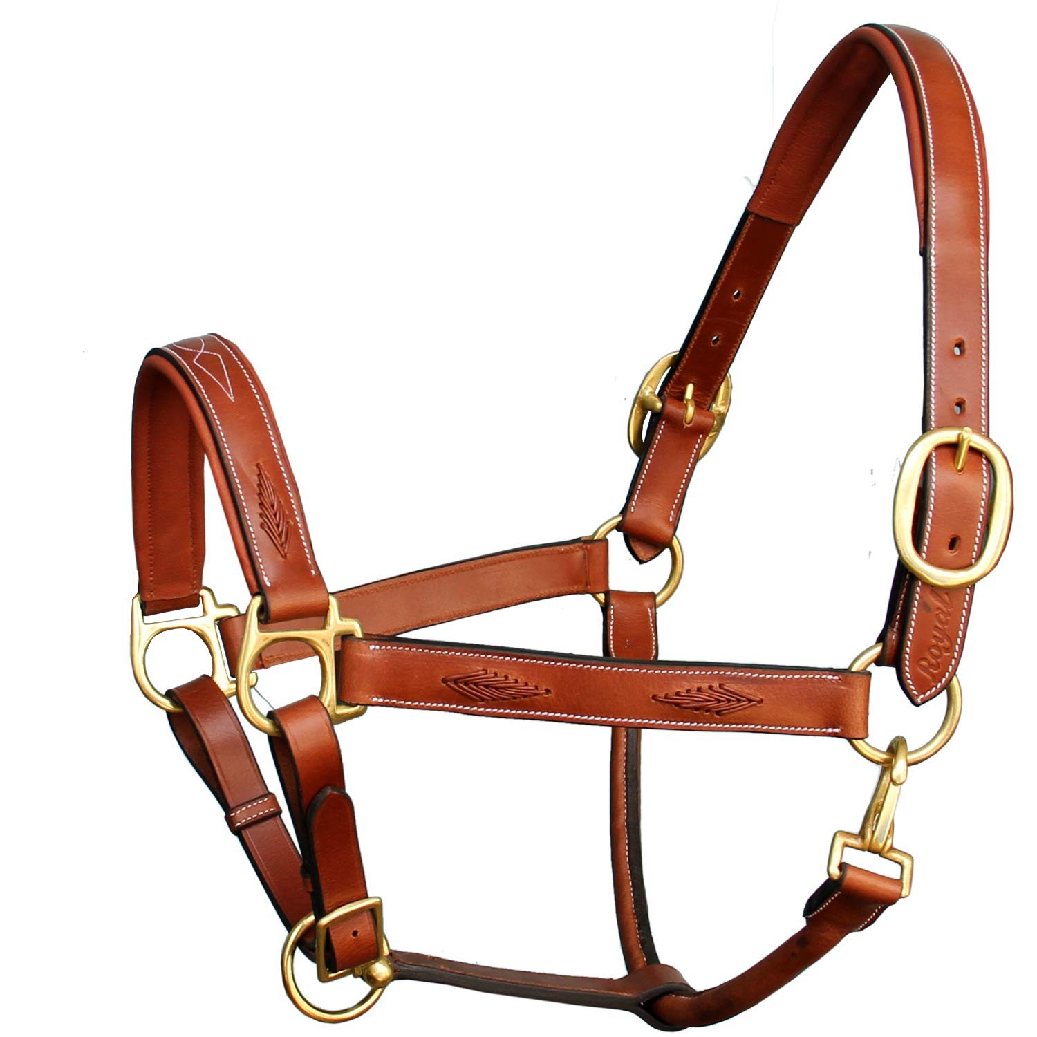 Conker (Tan Brown) Small (Pony) Conker (Tan Brown) Small (Pony) Exion Fancy Braided Padded Halter and Brass Buckles   Equestrian Show Jumping Padded Halter   English Horse Riding Premium Tack   Conker   Pony