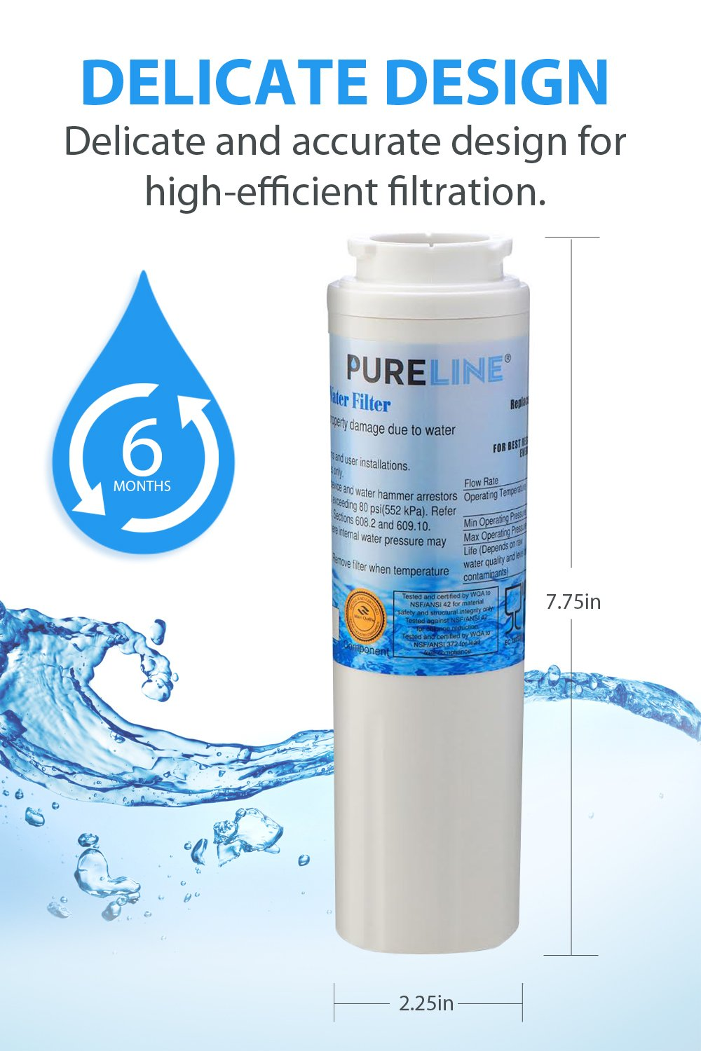Compatible Maytag UKF8001 PUR Refrigerator Water Filter Replacement  Also fits UKF8001AXX Kenmore 46-9006 By Pure Line Puriclean II 2 Pack 4396395 EDR4RXD1