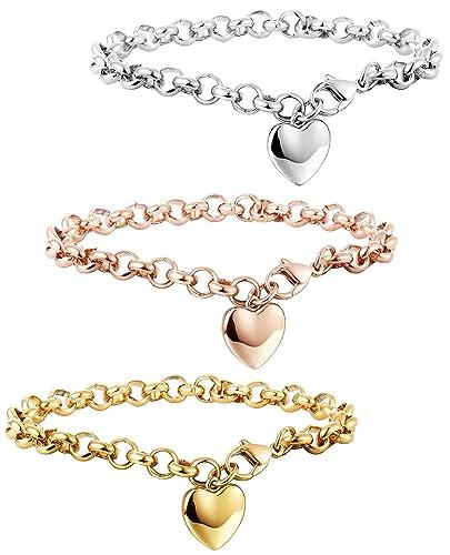 Armkette  Besteel Edelstahl Herz Frauen Armbänder Damen Mädchen Armband ...